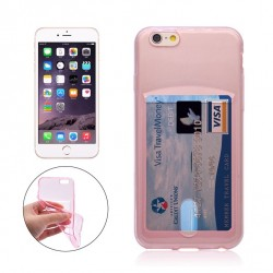 iPhone  6 PLUS/6SPLUS silicone case with card slot - Pink