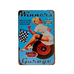 Vintage metal poster for decoration, metal sign - Winner's Garage