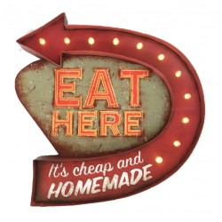 Affiche lumineuse vintage Eat Here Open 24 Hour
